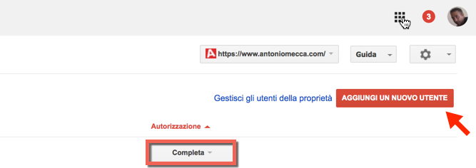 aggiungere proprietari su google search console