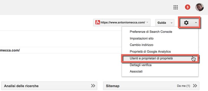 aggiungere proprietario su google search console