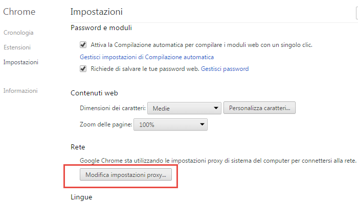 come usare proxy google chrome